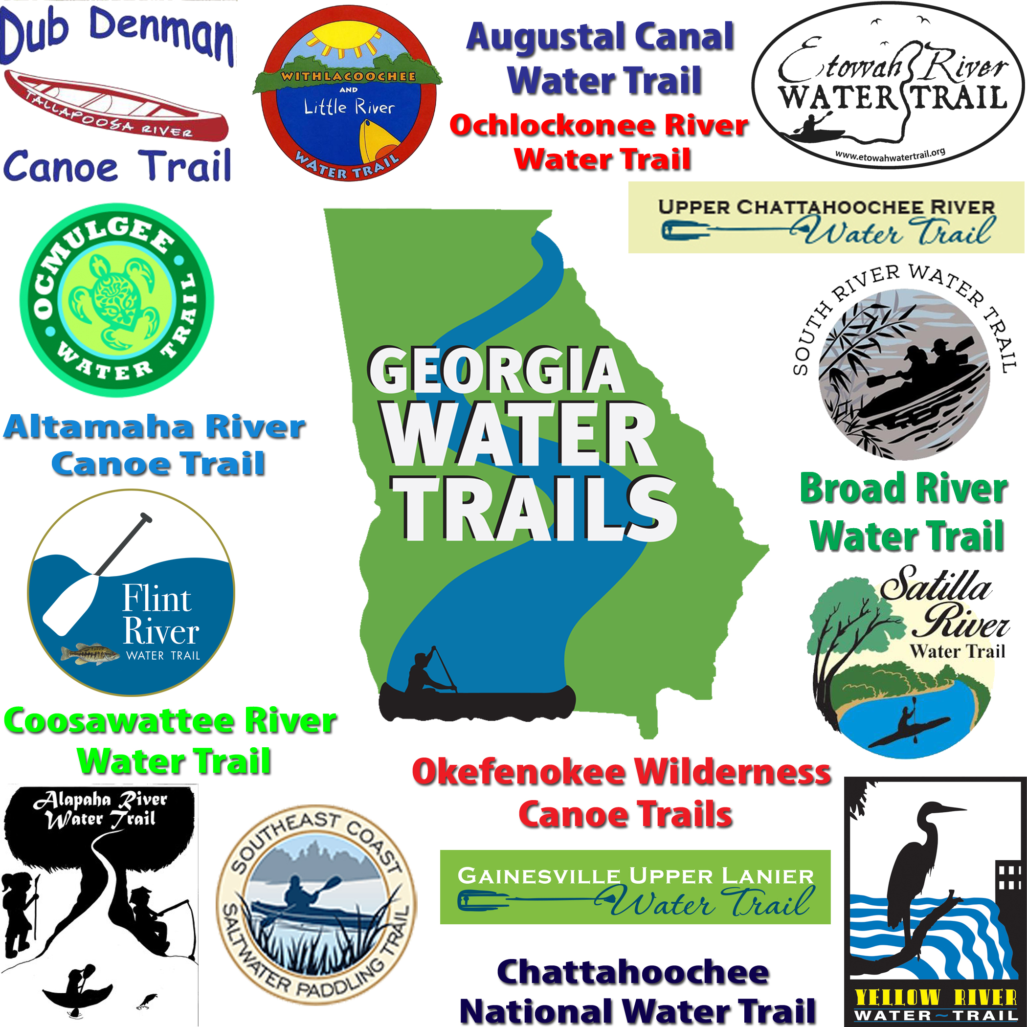 Gawatertrailnetworkgraphicg established water trails in georgia 15 sciox Images