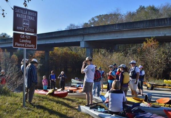 Satilla River Water Trail Sign and Paddlers