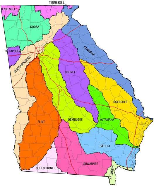 GA river basin map