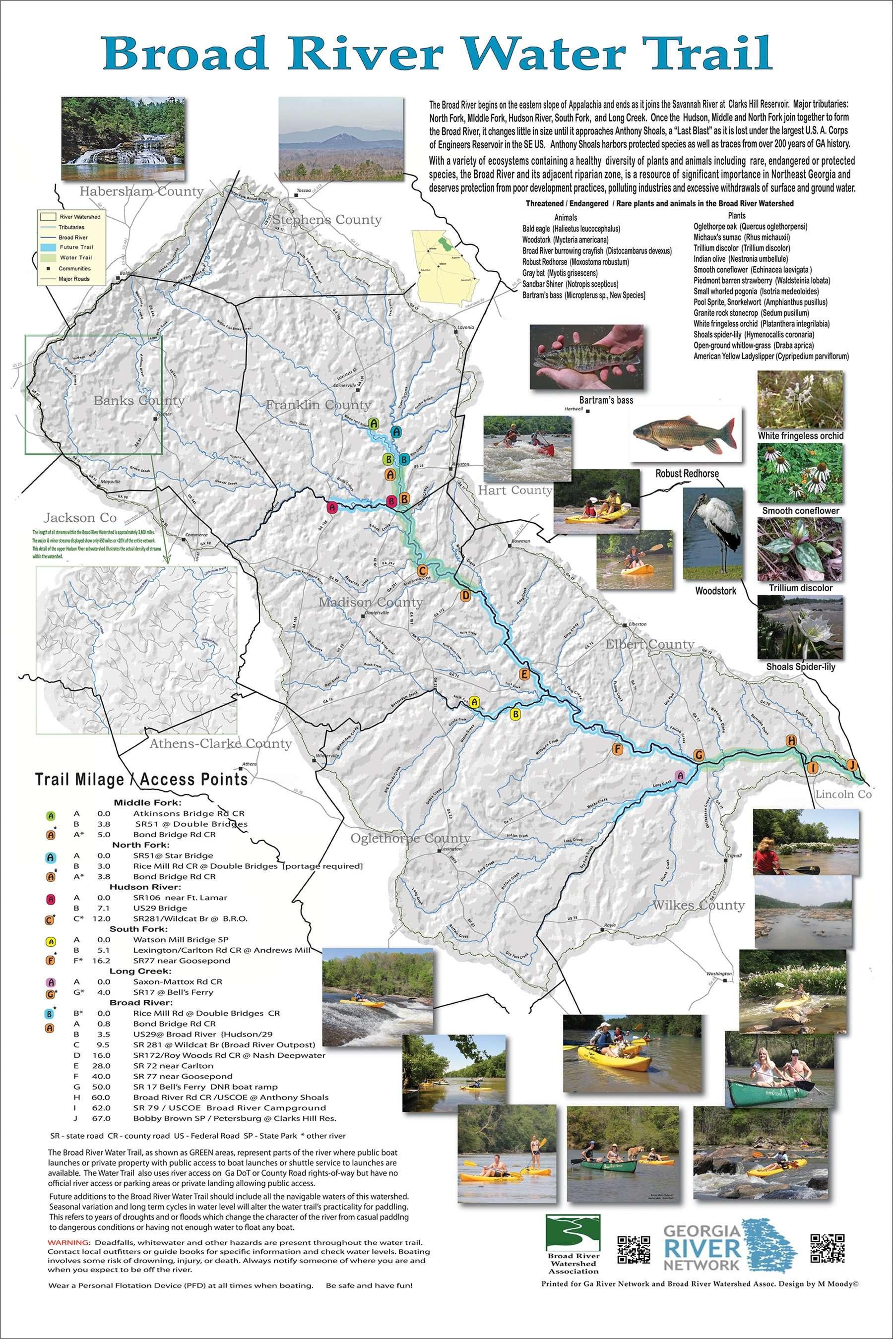 Map Of Georgia Athens.Broad River Water Trail Georgia River Network